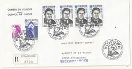 THEME EUROPE CONSEIL DE L'EUROPE PREMIER JOUR SUR LETTRE RECOMMANDEE - Cachets Commémoratifs
