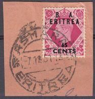 ERITREA Amministrazione Civile Britannica - 1950 - Yvert 20 Usato Su Frammento Di Busta Con Bell'annullo. - Africa Del Sud-Ovest (1923-1990)