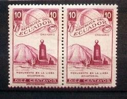 "025- ECUADOR - 1949 - "" Monumento Linea Equatoriale "" Coppia Nuova MNH - Ecuador"