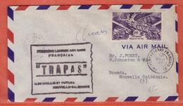 WALLIS LETTRE PAR AVION ENTRAIDE SIGNEE DECARIS DE 1947 POUR NOUMEA NOUVELLE CALEDONIE - Covers & Documents