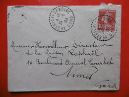 LETTRE CACHET VESTRIC ET CANDIAC SUR TIMBRE LETTRE 1908 - Postmark Collection (Covers)