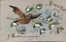 Carte Celluloïd (oiseau, Gui, Que Le Bonheur Vous Accompagne) - A Systèmes