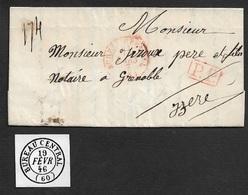 1847 - LAC - C.à.d BUREAU CENTRAL - P.P En Rouge A ISERE - 1801-1848: Précurseurs XIX