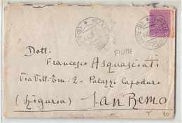 17031 VILLA DEL NEVOSO FIUME X SANA REMO - BUSUA 73 REGGIMENTO FANTERIA LOMBARDIA - 1900-44 Victor Emmanuel III.
