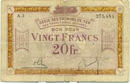 20 FRANCS OCCUPATION FRANCO-BELGE DE LA RUHR 1923 - [10] Emissions Militaires