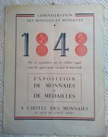 AFFICHE ANCIENNE ORIGINALE EXPOSITION DE MONNAIES ET MEDAILLES HOTEL DES MONNAIES PARIS 1948 - Monete