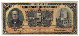 5 PESOS BANQUE ORIENTALE DU MEXIQUE 1910 - Mexico