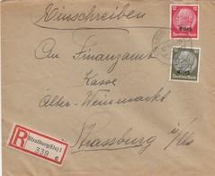 LETTRE. DEUTSCHES REICH.  1941. RECOMMANDÉ  STRASSBURG-KÖNIGSHOFEN - Allemagne