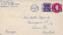 1932 ESTADOS UNIDOS , SOBRE ENTERO POSTAL CIRCULADO , DETROIT - VIENA - 1921-40