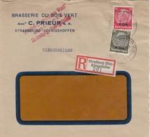 LETTRE. DEUTSCHES REICH.  1941. RECOMMANDÉ BRASSERIE DU BOIS VERT  STRASSBURG-KÖNIGSHOFEN - Germany