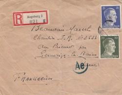 COVER. LETTRE. DEUTSCHES REICH.  1943. RECOMMANDÉ AUGSBURG  TO FRANKREICH. ZENSOR - Allemagne