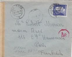 COVER. LETTRE. DEUTSCHES REICH.  1944. RECOMMANDÉ BERLIN  TO FRANKREICH. CENSURE - Allemagne