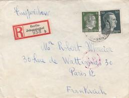 COVER. LETTRE. DEUTSCHES REICH.  1943. RECOMMANDÉ BERLIN-JOHANNISSTHAL  TO FRANKREICH. CENSURE - Allemagne