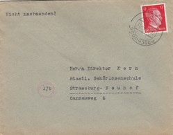 COVER. LETTRE. DEUTSCHES REICH.  1944. RECOMMANDÉ RÖSCHWOOG  TO STASSBURG - Allemagne