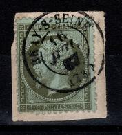 Napoleon YV 19 Oblitere Bray Sur Seine Sur Fragment, Sans Defaut Cote 50 Euros - 1862 Napoleon III