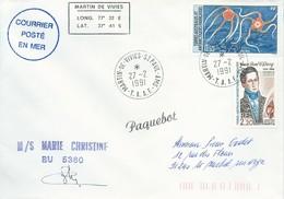 """TAAF-Martin De Vivies-St Paul-AMS: Lettre """"M/S Marie Christine"""" Avec N°122 Ophiures Et 151 Quoy - 27/02/1991 - Terres Australes Et Antarctiques Françaises (TAAF)"""