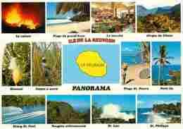 Ile De La Réunion - Multivues - Carte Géographique - Voir Scans Recto-Verso - La Réunion