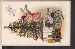 Postkarte Weihnachten , Puppenwagen , Puppenherd , Engel - Christmas