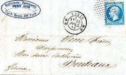 Lettre De Paris Pour Bordeaux. Oblitération Du Timbre Par Un Cercle De Points - 1853-1860 Napoleon III