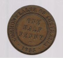 AUSTRALIA»0NE HALF PENNY (STERLING COINAGE)»1935»BRONZE»KM22»VF CONDITION»CIRCULATED - Moneta Pre-decimale (1910-1965)