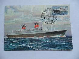 """(Seine Maritime - 76 - Carte Maximum...) - LE HAVRE - Paquebot FRANCE """"Exposition Les Paquebots De France """" 12/01/1962 - Cartes-Maximum"""