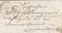 LETTRE.  LETTER. FRANCE. PUY-DE-DOME. 1851. DE SUGERES SAUXILLANGES POUR CLERMONT. TAXE TAMPON 25 - Briefmarken