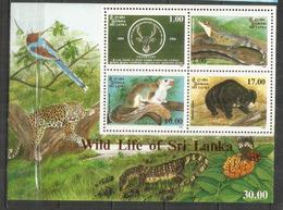 Ours Lippu & Faune Endémique Au Sri Lanka. Bloc-feuillet Neuf ** - Ours