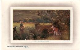 """A. De Breanski. Near Glastonbury. Som Tuck Oilette Plate Marked Rough Seas Ser. PC # 9752 - Tuck, Raphael"