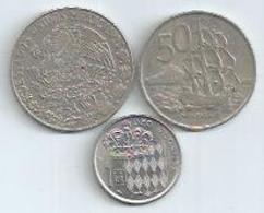 3 PIECES : 1FR MONACO 1960 - 50 ENDEAVOUR 1967 NEW ZEALAND - CINCO PESOS 1976 MEXIQUE - Monnaies