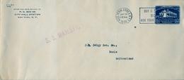 """1936 ESTADOS UNIDOS , SOB. ENTERO POSTAL  , NEW YORK - BASEL , POR  """" S.S. MAJESTIC """" - 1921-40"""