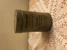 WWII  Scatola Di Latta Cilindrica Militare Medicinali Fascia Gessata Gipsbinde Istruzioni In Italiano E In Tedesco - Equipaggiamento