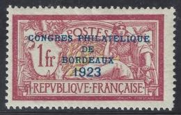N°182 Congrès Philatélique Bordeaux 1923 1fr Merson Neuf Presque**- Signé Calves - France