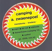 CAMPING A. ZWAENEPOEL KLEMSKERKE BREDENE ° CAPRI ° DEL SOL ° EDELWEIS ° DUINENHOEVE ° RUSTHOF  STICKER AUTOCOLLANT - Publicités