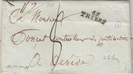 LETTRE.  LETTER. FRANCE. PUY-DE-DOME. SIGNÉE. 1806.  62 / ITHIERS POUR GENEVE. TAXE PLUME 8 - Briefmarken