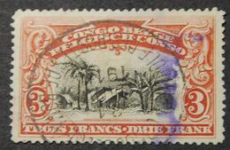 N°61 Oblitéré Congo Belge Contrôle Des Postes De Boma 31 Janvier 1914. Oblitération Très Rare Pour Le 3 Francs RRR - Belgisch-Kongo