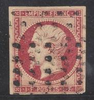 N°18 Napoléon 1fr Carmin Oblitéré Gros Points 1853 Superbe D'aspect - Certificat - 1853-1860 Napoléon III