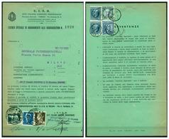 V6958 ITALIA 1940 REGNO Licenza Di Abbonamento EIAR Con 3 Val. Imperiale (L. 2,55 + C. 35 + C. 10)con Annullo Postale Mi - 1900-44 Vittorio Emanuele III