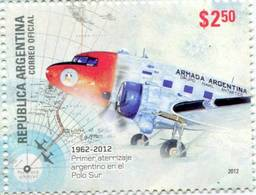 Lote A13, Argentina, 2012, Sello, Stamp, Primer Aterrizaje Argentino En El Polo Sur, Landing At The South Pole, Plane - Argentina