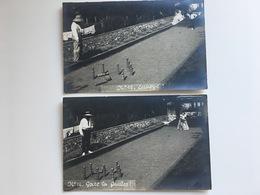 Foto AK Set 2 Cards: Gare Les Quilles Jouer Jeux De Boule  ? - Sports