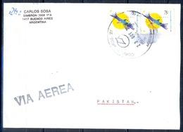K401- Postal Used Cover. Posted From Argentina To Pakistan. Birds. - Argentina