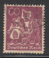 Germany 1921-22 Used Sc #168 Mi #184 60pf Blacksmith Wmk Waffles - Germany