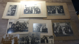 LOT De 9 PHOTOS De MARIES Mariage Circa Années 1920 Robe De Mariée Groupe De Famille Amis - Fotos