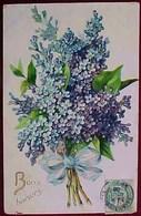 Cpa FLEURS  JOLI BOUQUET De LILAS , Noué, BONS BAISERS , Gaufrée , 1906 , Flowers BLUE LILAC Embossed Old Pc - Fleurs
