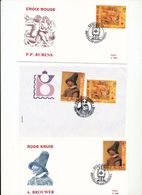 Belgium B1108-1109 Belgian Red Cross Paintings Brouwer Rubens Singles Pair 3 Cvrs With Day Of Issue Cancel 1993 A04s - FDC