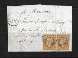 1854 FRANKREICH → Brief Asnieres Nach Astenay, 2x Napoléon III  10C Braun ►RAR◄ - 1853-1860 Napoléon III