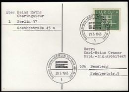 Germany Berlin 1965 / Europlano Kongress / Europa / CEPT - Idées Européennes