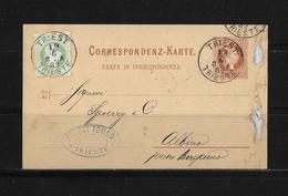 1882 ÖSTERREICH → GA ZuF Postkarte Triest Nach Albino Italien - Entiers Postaux