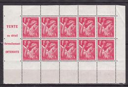 N° 433-C2 Type Iris: Un Demi Carnet Bloc De 10 Timbres Neuf  Impeccable Sans Charnière  Faire Offre - Booklets