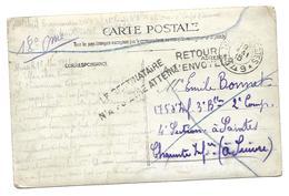 Guerre 14 18 SAINTES Charente Maritime Griffe LE DESTINATAIRE N'A PU ETRE ATTEINT + RETOUR A L'ENVOYEUR Sur Carte P....G - Marcophilie (Lettres)