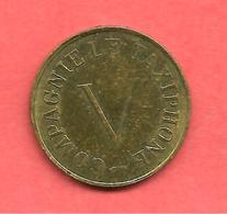 Jeton COMPAGNIE LE TAXIPHONE V , N° B10 , Messing / Cupro-Nickel , Diam: 19,6 - Monétaires / De Nécessité